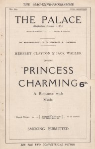 Princess Charming Musical Alice Delysia Palace Theatre Programme
