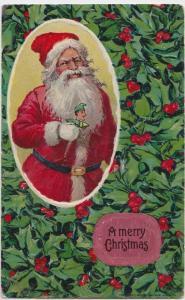 SANTA CLAUS Postcard MERRY CHRISTMAS 1913 HOLLY Arthur Horwitz Signed S242