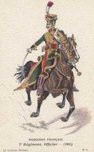 1811 Mounted Regiment Officer Hussards Francais French Military Uniform Postcard