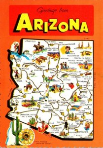 Arizona Greetings From The Grand Canyon State With Map