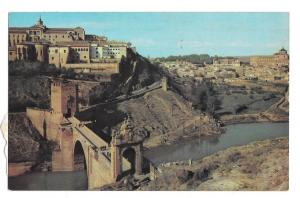 Spain Toledo Piente de Alcantara Bridge and City Birds eye view Vtg Postcard