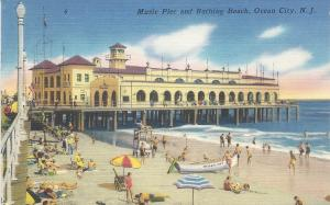 Music Pier and Bathing Beach, Ocean City, N.J., Early Linen Postcard, Used