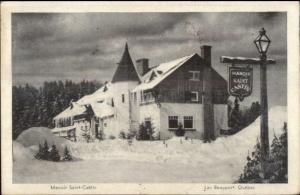 Lac Beauport Quebec Manoir Saint Castin in Winter Old Postcard