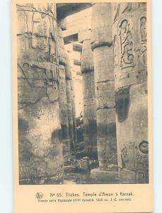 Unused Old Postcard KARNAK TEMPLE Thebes Egypt F5466