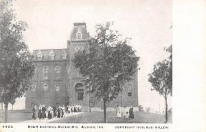 Albion Indiana~High School~Teachers & Students Outside~1905 B&W Postcard