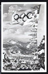 Winter Olympics Garmisch Partenkirchen 1936 Country's Banners Swastika RPPC
