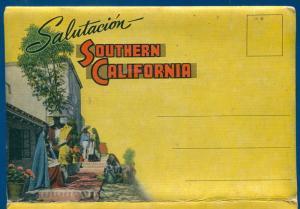 Salutacion Southern California ca souvenir travel postcard folder