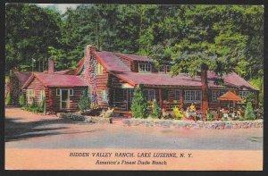 Hidden Valley Ranch Exterior Lake Luzerne New York Unused c1940s