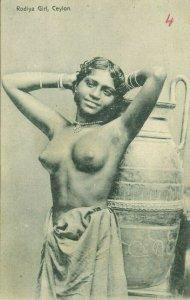 ceylon, Native Nude Rodiya Woman with Large Vase Pottery (1910s) Postcard