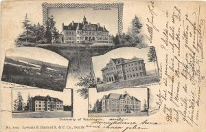 G33/ Seattle Washington Postcard 1908 University 5View Buildings 1