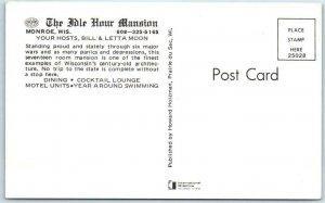 MONROE, Wisconsin WI   Roadside  IDLE HOUR MANSION Restaurant Motel   Postcard