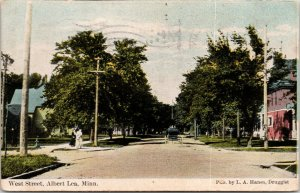 Albert Lea Minnesota~Ladies on Corner by West Street Homes~1910 Postcard