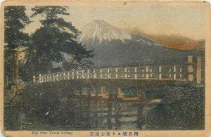 Fuji from Kawai Bridge Japan early postcard
