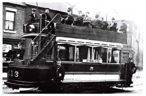 Vintage Reproduction Postcard, 1899 Tram in Sheffield en route to Tinsley 63A