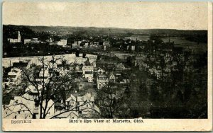 1910 Marietta, Ohio Postcard Bird's-Eye View HOME-COMING / College Jubilee Ad