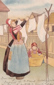 Mother putting clothes on the hanger, Daughter helping, bonnets, PU-1904