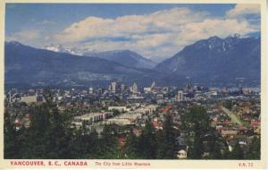 Vancouver BC Canada, The City From Little Mountain, Postcard