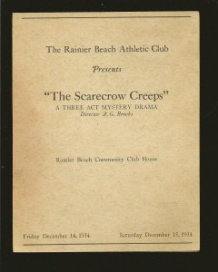 The Rainier Beach Athletic Club 1934 The Scarecrow Creeps Mystery Drama Program