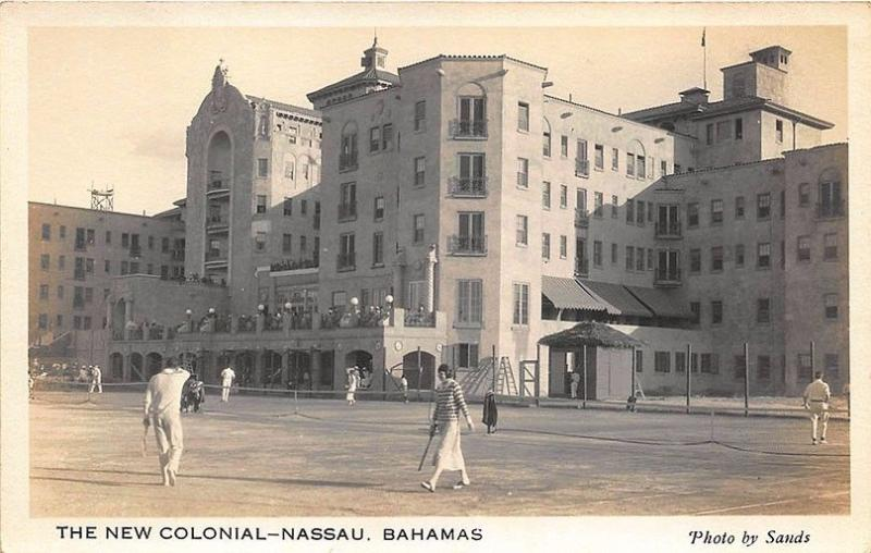 Nassau Bahamas Hotel New Colonial Tennis Courts Photo by Sands RPPC Postcard