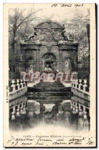 Old Postcard Paris Fountain Medicis (Luxembourg)