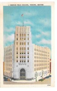Winnipeg Canada Manitoba Dominion Public Building Vintage Linen Postcard