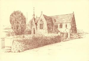 Postcard Art Sketch, All Saints Church, Sparkwell, Devon B83