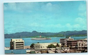 Cruise Ship Port of Suva Fiji View from Town House Hotel Suva Postcard E13