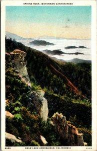 Vtg 1930s Sphinx Rock Waterman Canyon Road Near Arrowhead California CA Postcard