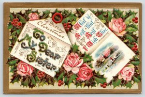 Christmas~To My Dear Sister~Shakespeare Quote~Pink Roses~Holly Berry~Gold Emboss