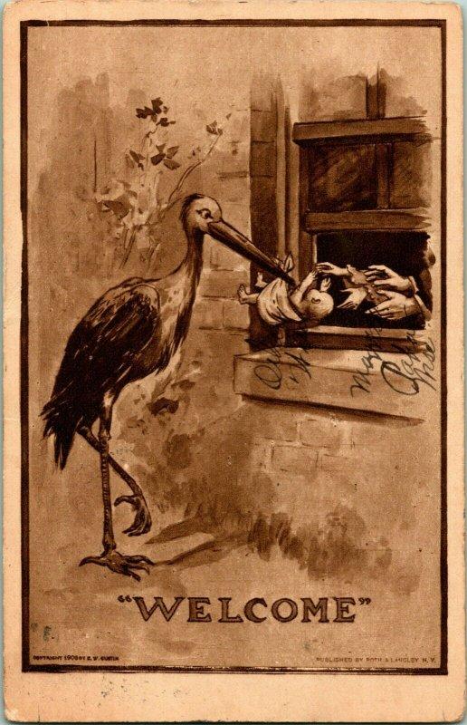 Vtg Carte Postale 1909 Cigogne Arrivant Livraison Bébé  Bienvenue  Roth &