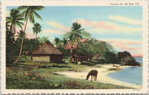 Village by the Sea Fiji Horse Hut Palm Trees UNUSED Vintage Linen Postcard D99