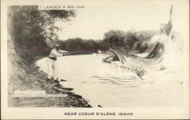 Coeur D'Alene ID Fishing Exaggeration Real Photo Postcard