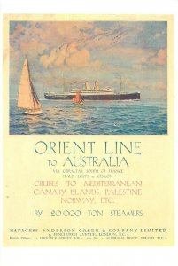 Orient Line to Australia steamer cruises postcard
