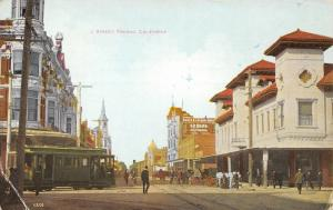 Fresno California~J Street~Trolley at Corner~Buker & Colson Drug~Ed Seal~1908 PC