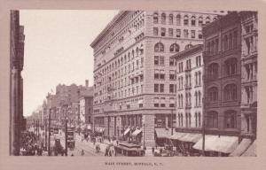 BUFFALO, New York, 1910-1920s; Main Street, Trolleys, Store Fronts