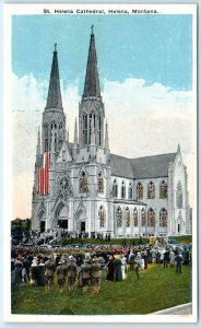 HELENA, Montana  MT  Crowd at ST. HELENA CATHEDRAL ca 1910s-20s Church  Postcard