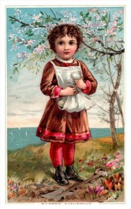 20014  Victorian Easter Card young girl, apron of rggs