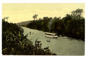 Panama - Canal Zone. View of Canal & Luxurious Vegetation