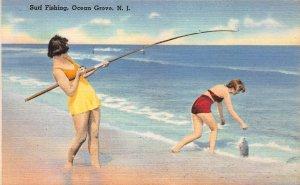 Surf Fishing, Ocean Grove, New Jersey, early linen postcard, unused