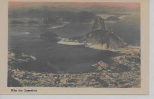 Rio De Janeiro Brazil panoramic aerial view town and harbor real photo pc Z24020