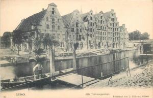 Ak Germany Lubeck Alte Travenspeicher boat bateau 1900s