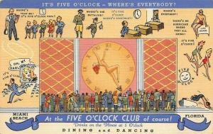 Miami Beach FL Five O' Clock Club Multi-View Nude Curt Teich Linen Postcard