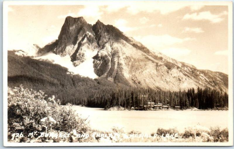 YOHO NATIONAL PARK Canada Real Photo Postcard Mt. Burgess & Chalet Emerald Lake