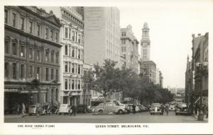 australia, MELBOURNE, Vic., Queen Street, Cars (1960s) Rose Series RPPC
