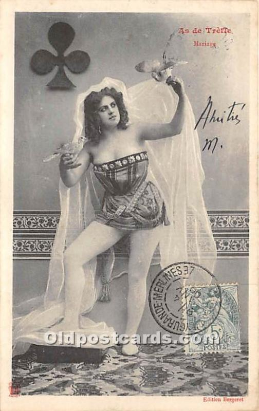 As De Trefle, Mariage Gambling 1906 Stamp on front writing on front, light po...
