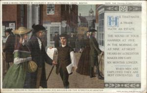Benjamin Franklin on Streets of Boston c1910 Detroit Publishing Postcard