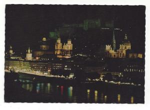 Austria Salzburg Festival City Night Cathedral Vtg Postcard