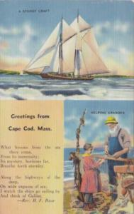 Massachusetts Greetings From Cape Cod Sturdy Craft and Helping Grandpa 1941