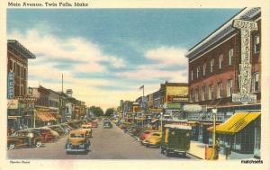 Autos 1940s Twin Falls Idaho Main Avenue Otto News Tichnor postcard 10248