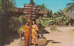 Hawaii Oahu Laie Mileage Sign Polynesian Cultural Center